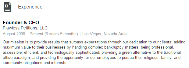 Our mission is to provide results that surpass expectations through our dedication to our clients; adding maximum value to their businesses by handling complex bankruptcy matters; being professional, accessible, efficient, and technologically sophisticated; providing a green alternative to the traditional office paradigm; and providing the opportunity for our employees to pursue their religious, family, and community obligations and interests.
